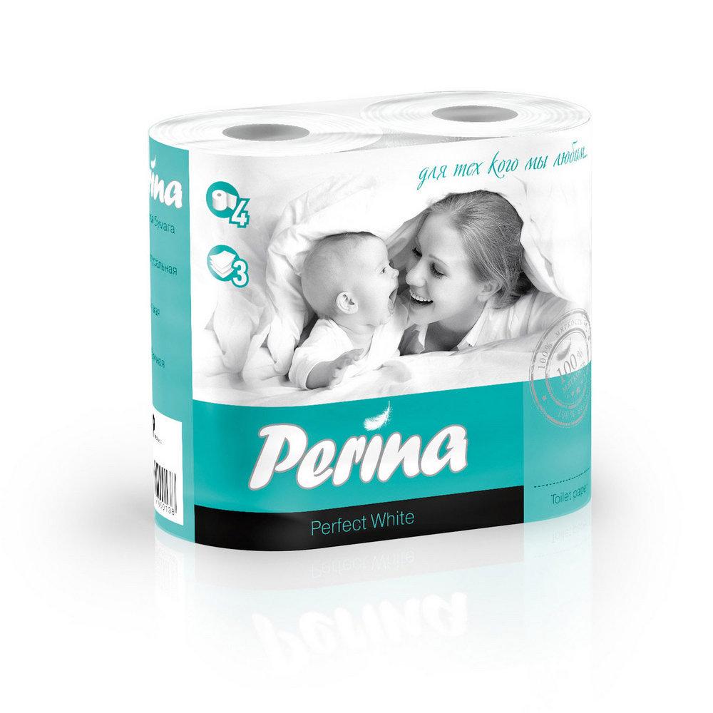 Туалетная бумага Perina Perfect White 3 слоя 4 рулона