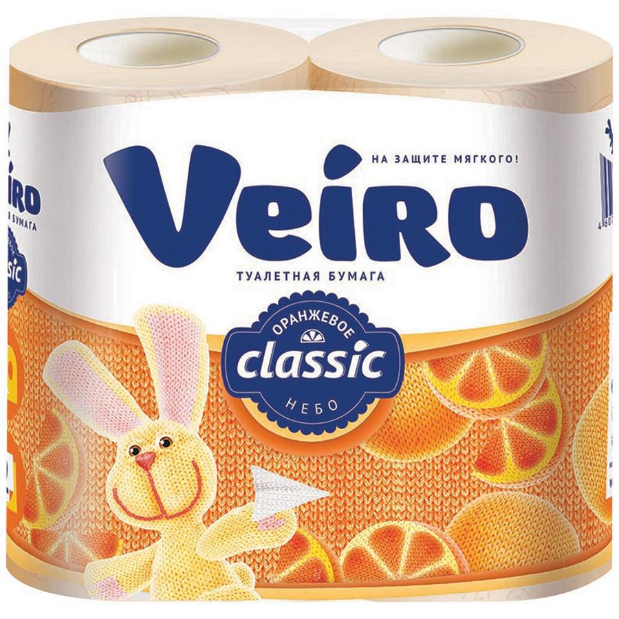 Туалетная бумага Veiro Классик Оранжевое небо 2 слоя 4 рулона