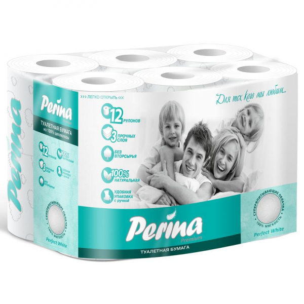 Туалетная бумага Perina Perfect White 3 слоя 12 рулонов