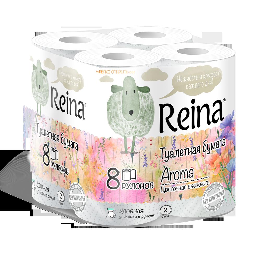 Туалетная бумага Reina Aroma Цветочная свежесть 2 слоя 8 рулонов