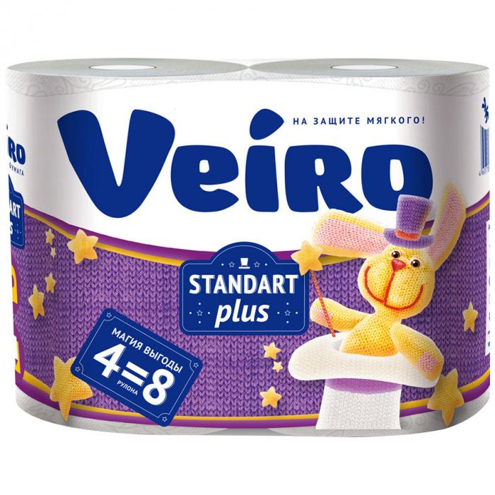 Туалетная бумага Veiro Стандарт Плюс 2 слоя 4 рулона (4=8)