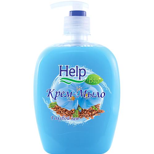 Жидкое мыло Help Голубой Лен с дозатором 500 мл