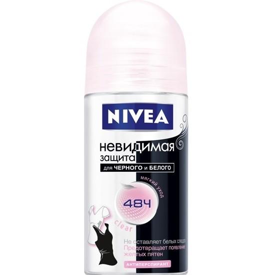 Дезодорант-шарик Нивея Clear Невидимая защита для черного и белого 50мл