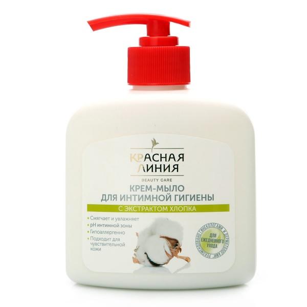 Жидкое мыло для интимной гигиены Красная линия с экстрактом хлопка 250 г