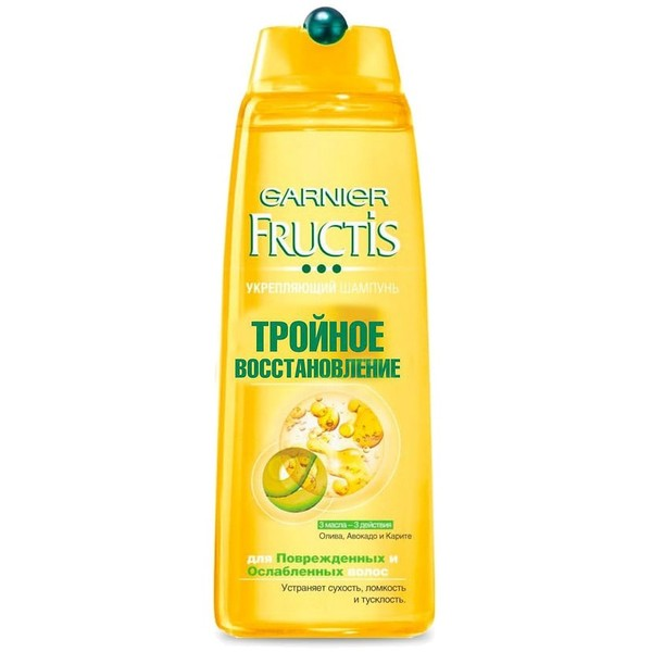 Шампунь Фруктис Тройное восстановление(3-глицерид,3 масла олива, авокадо и карите) для очень сухих и поврежденных волос 400 мл