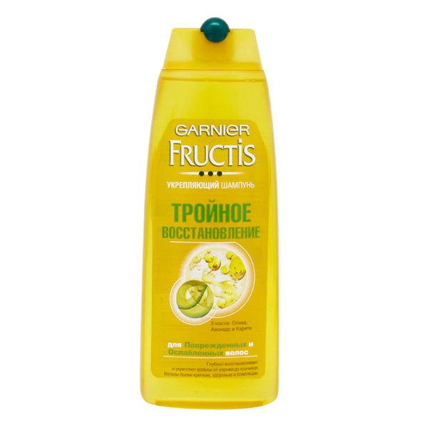 Шампунь Фруктис Тройное восстановление(3-глицерид,3 масла олива, авокадо и карите) для очень сухих и поврежденных волос 250 мл