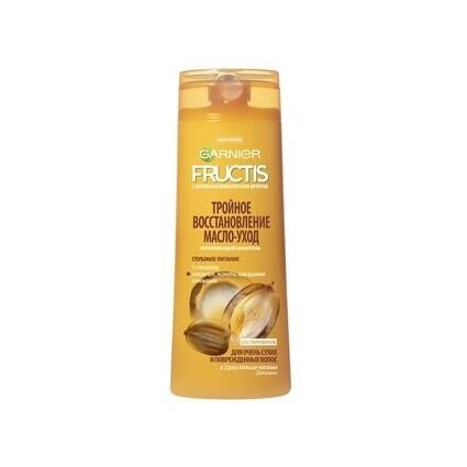 Шампунь-масло Фруктис Тройное восстановление (3-глицерид, масло ши, жожоба,макадамии и миндаля) для очень сухих и поврежденных волос 250 мл