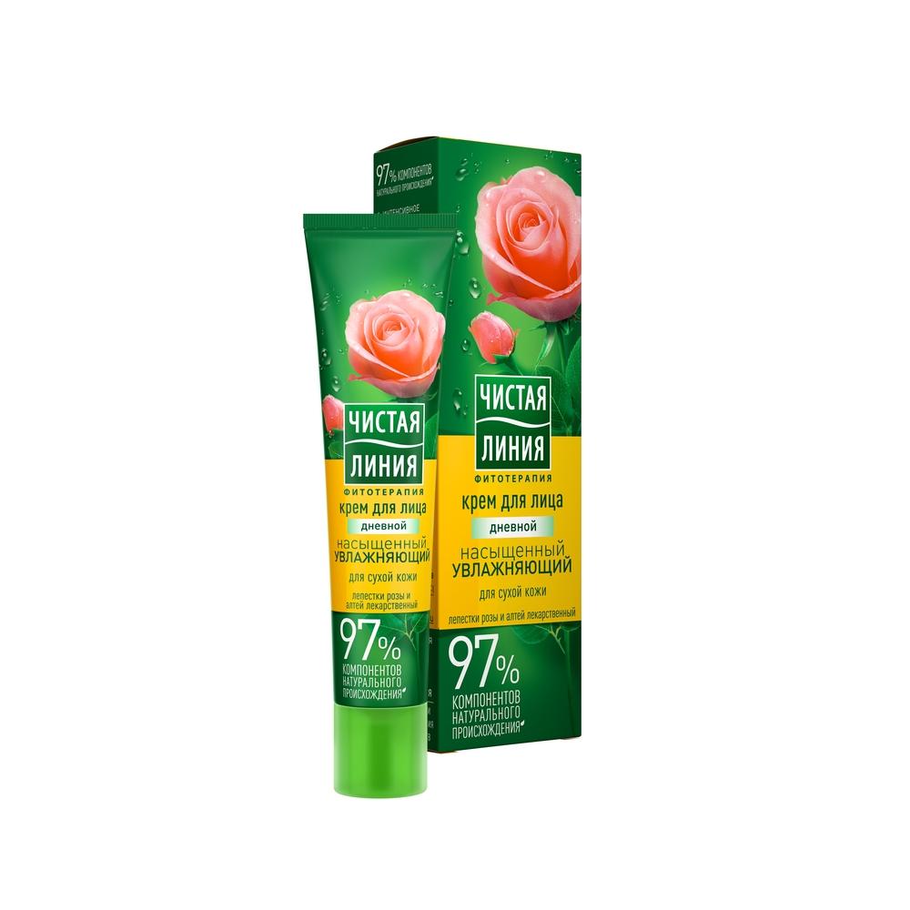 Крем Чистая линия Увлажняющий Роза и Алатея для сухой кожи День 40 мл