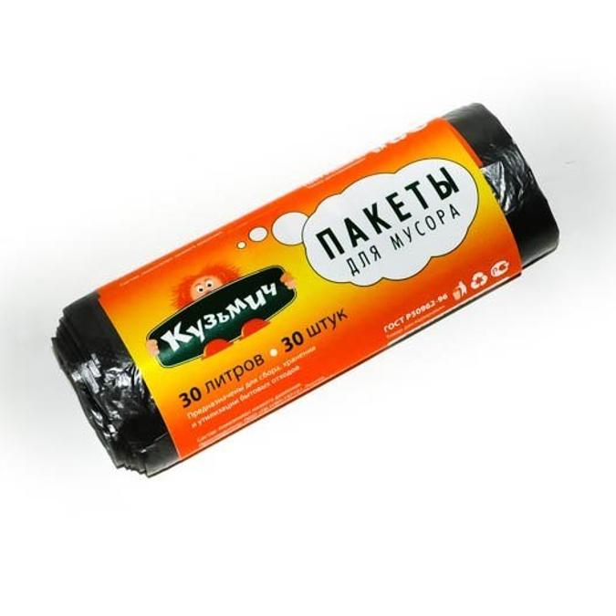 Мешки для мусора Кузьмич 30л 30шт черные