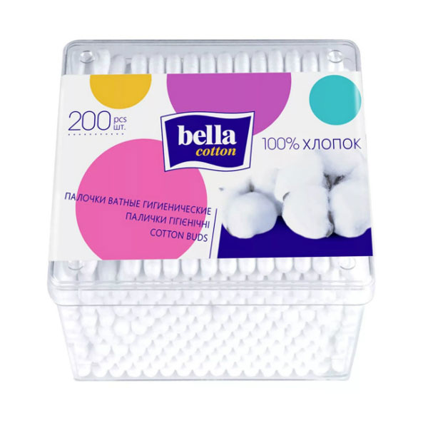 Ватные палочки Белла (квадратная упаковка) 200 шт