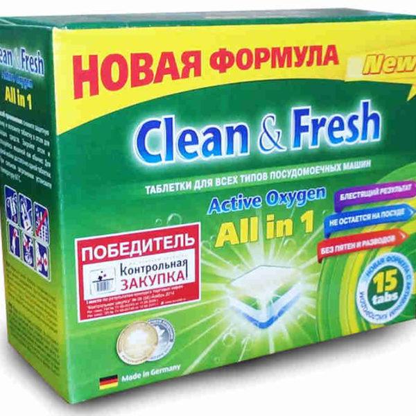 Таблетки для для посудомоечной машины Clean&Fresh 5в1 15шт