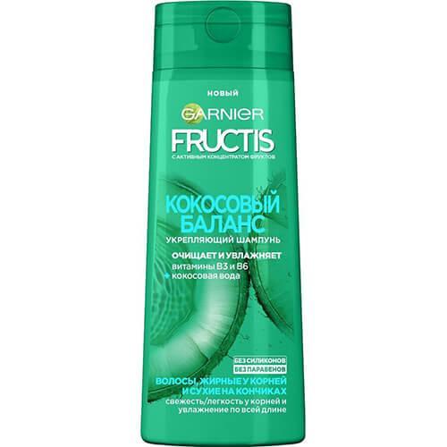 Шампунь Фруктис Кокосовый баланс (Витамины B3 и B6) для волос,жирных у корней и сухих на кончиках 400 мл