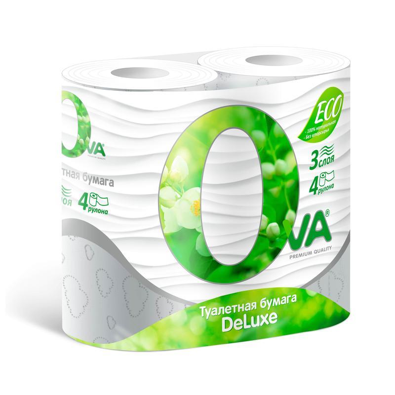 Туалетная бумага Ova Эко ДеЛюкс 3 слоя 4 рулона