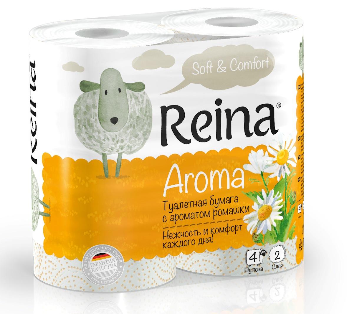 Туалетная бумага Reina Aroma Ромашка 2 слоя 4 рулона