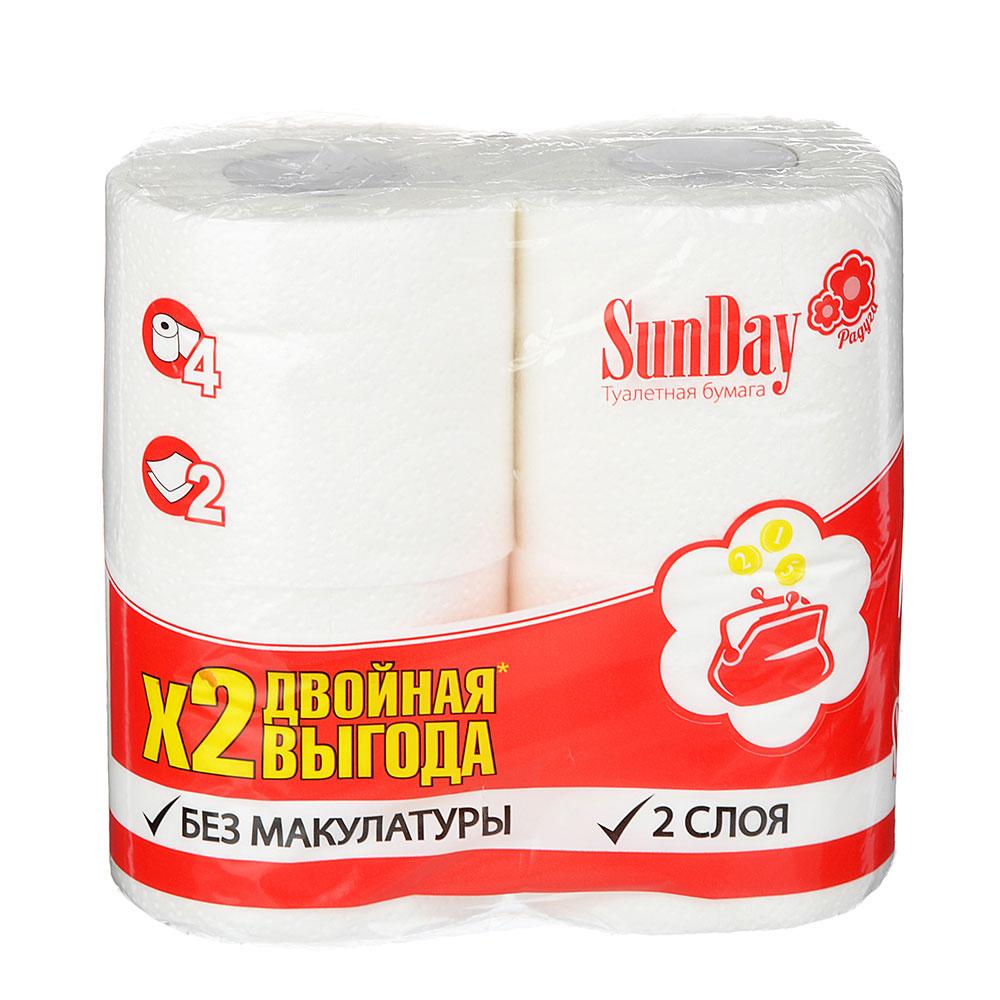 Туалетная бумага SunDay 2 слоя 4 рулона